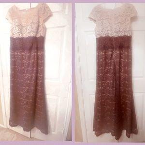 NWOT Long lace Formal Dress Lavender Cream